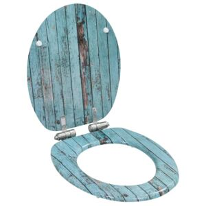 VidaXL WC Toilet Seat with Soft Close Lid MDF Old Wood Design