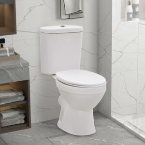 VidaXL Standing Toilet with Cistern and Soft Close Seat Ceramic White