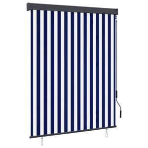 Outdoor Roller Blind 140x250 cm Blue and White