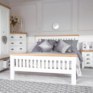 Hampshire White Painted Oak Double Bed Frame High Foot End