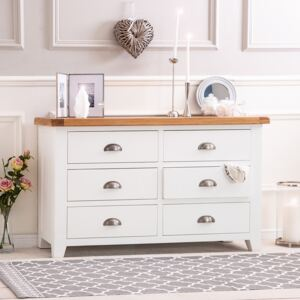 Hampshire White Painted Oak Chest of 6 Drawers