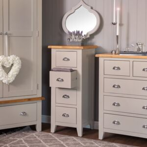 Chester Stone Painted Oak 4 Drawer Tallboy