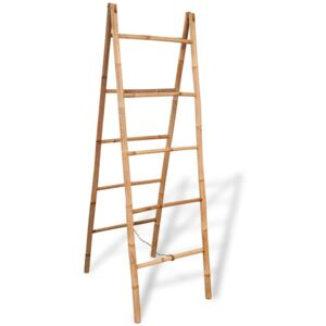 Double Towel Ladder with 5 Rungs Bamboo 50x160 cm