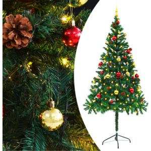 VidaXL Faux Christmas Tree Decorated with Baubles and LEDs 180cm Green