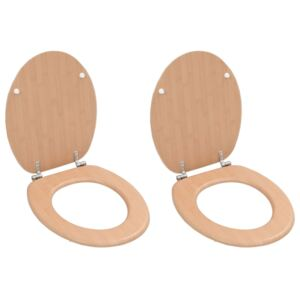 WC Toilet Seats 2 pcs with Lids MDF Bamboo Design