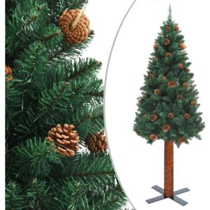 VidaXL Slim Christmas Tree with Real Wood and Cones Green 150 cm PVC