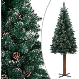 Slim Christmas Tree with Real Wood and White Snow Green 150 cm