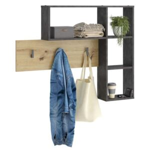 FMD Wall-mounted Coat Rack 4 Open Compartments Anthracite and Oak