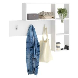 FMD Wall-mounted Coat Rack 4 Open Compartments White