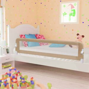 VidaXL Toddler Safety Bed Rail Taupe 180x42 cm Polyester