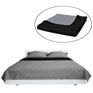 VidaXL Double-sided Quilted Bedspread Black/Grey 170 x 210 cm