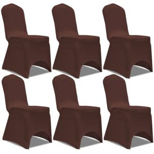 Stretch Chair Cover 6 pcs Brown