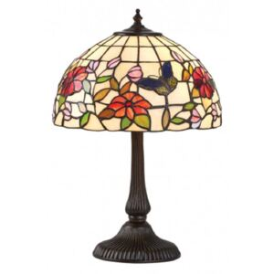 Interiors 1900 63998 Butterfly Tiffany Small 1 Light Table Lamp In Bronze With Shade - Height: 445mm