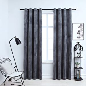 Blackout Curtains with Rings 2 pcs Velvet Anthracite 140x175 cm