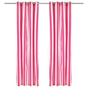 Curtains with Metal Rings 2 pcs Fabric 140x225 cm Pink Stripe