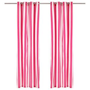 Curtains with Metal Rings 2 pcs Fabric 140x245 cm Pink Stripe