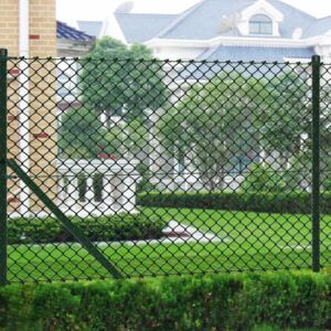 VidaXL Chain Link Fence with Posts Steel 0,8x15 m Green