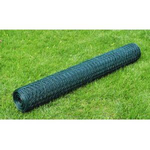 VidaXL Chicken Wire Fence Galvanised with PVC Coating 25x0.5 m Green