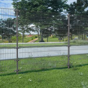 VidaXL Fence Panel with Posts Powder-coated Iron 6x1.6 m Anthracite