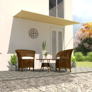 VidaXL Retractable Awning 300x150 cm Yellow and White