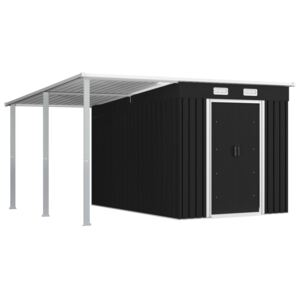 VidaXL Garden Shed with Extended Roof Anthracite 336x270x181 cm Steel