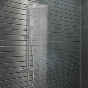 VidaXL Dual Head Shower Set with Thermostat Stainless Steel