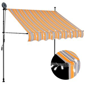 VidaXL Manual Retractable Awning with LED 100 cm Yellow and Blue
