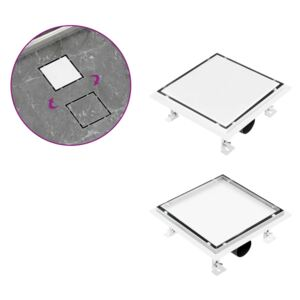 VidaXL Shower Drain With 2-in-1 Flat and Tile Insert Cover 20x20 cm Stainless Steel