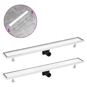 VidaXL Shower Drain with 2-in-1 Cover 93x14 cm Stainless Steel