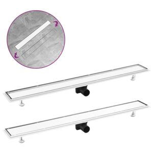 VidaXL Shower Drain with 2-in-1 Cover 103x14 cm Stainless Steel