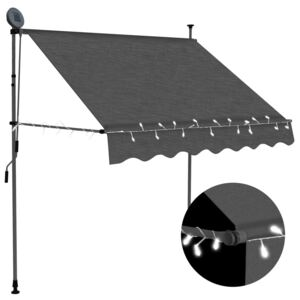 VidaXL Manual Retractable Awning with LED 100 cm Anthracite