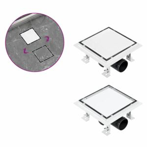 VidaXL Shower Drain With 2-in-1 Flat and Tile Insert Cover 15x15 cm Stainless Steel