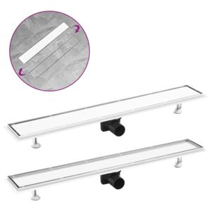 VidaXL Shower Drain with 2-in-1 Cover 83x14 cm Stainless Steel