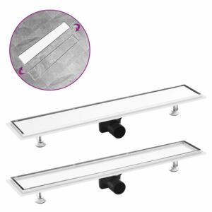 VidaXL Shower Drain with 2-in-1 Cover 73x14 cm Stainless Steel