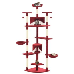 VidaXL Cat Tree with Sisal Scratching Posts 203 cm Red and White