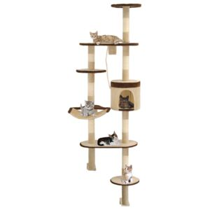VidaXL Cat Tree with Sisal Scratching Posts Wall Mounted 194 cm