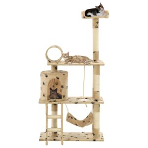 Cat Tree with Sisal Scratching Posts 140 cm Beige Paw Prints