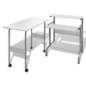 VidaXL 2 Piece Computer Desk with Pull-out Keyboard Tray White