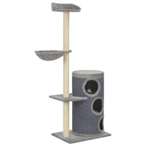 Cat Tree with Sisal Scratching Posts Grey 148 cm