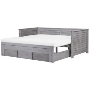 Bed Frame with Storage Grey Rubberwood EU Single to Super King Size 6ft Guest Bed Beliani