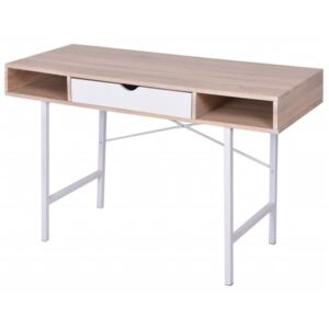 VidaXL Desk with 1 Drawer Oak and White