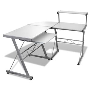 VidaXL Computer Desk with Pull-out Keyboard Tray L-shaped White