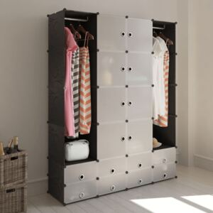 Modular Cabinet 18 Compartments Black and White 37x146x180.5 cm