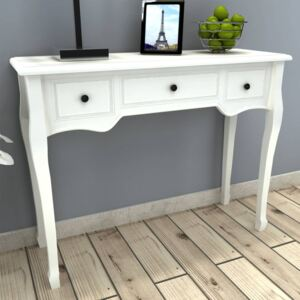 Dressing Console Table with Three Drawers White