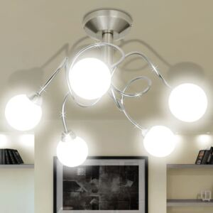 VidaXL Ceiling Lamp with Round Glass Shades for 5 G9 Bulbs