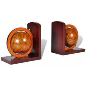 Bookstand World Map Globe Bookend Classic A Pair