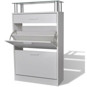 VidaXL Shoe Cabinet with a Drawer and a Top Glass Shelf Wood White