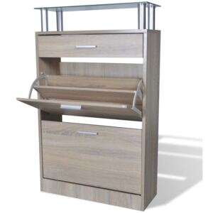 VidaXL Shoe Cabinet with a Drawer and a Top Glass Shelf Wood Oak Look