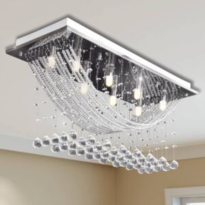 VidaXL White Ceiling Lamp with Glittering Glass Crystal Beads 8 x G9 29 cm