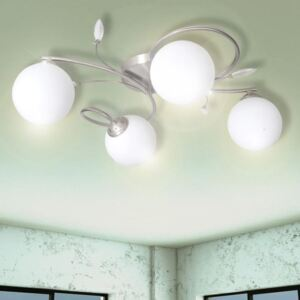 VidaXL Ceiling Lamp Transparent Acrylic Leaves and Glass Shades for 4 G9Bulbs